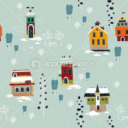 Зима Рождественский фон с дома и деревья — Стоковая иллюстрация #30646781