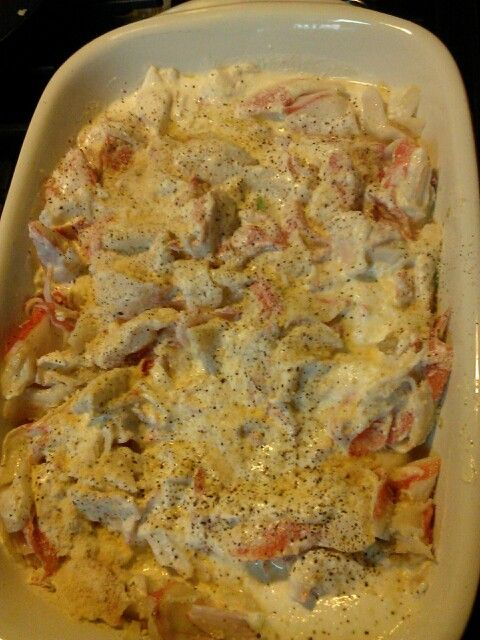 Crabmeat bake 1 stick butter, garlic cloves 3 or 4, 2-3 pkgs imitation crab meat, 160z sour cream& Parmesan cheese. melt 1/2 stick butter add crushed garlic add crab meat - cook 10 min. turn over meat transfer to casserole dish. melt 1/2 stick butter and add sour cream stir 5min-add to the top of the crab meat in casserole dish then shake parmesan cheese on the top. salt pepper to taste