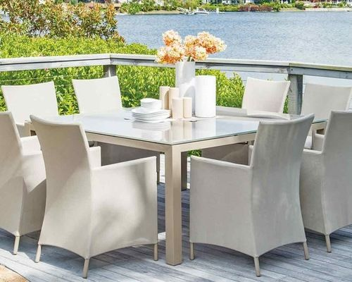 8 seaters dining table . #style #design #outdoorfurniture #AlQairawan #diningset #summer #outdoorlivings #nothingbutstyle
