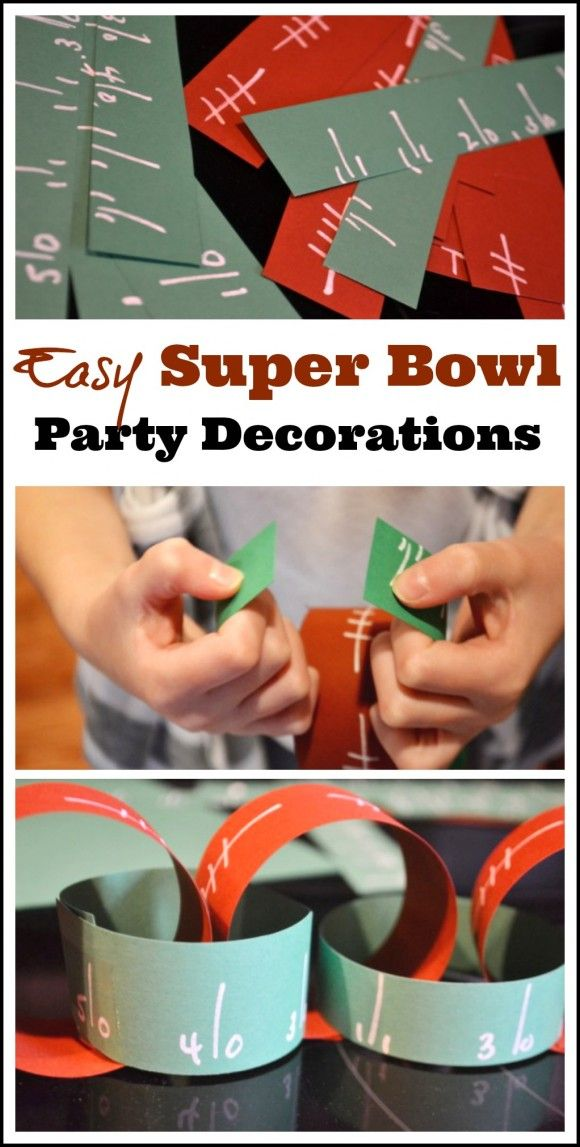 Easy Super Bowl party paper chain decoration DIY! See more football party ideas at CatchMyParty.com. #superbowl #partydecorations