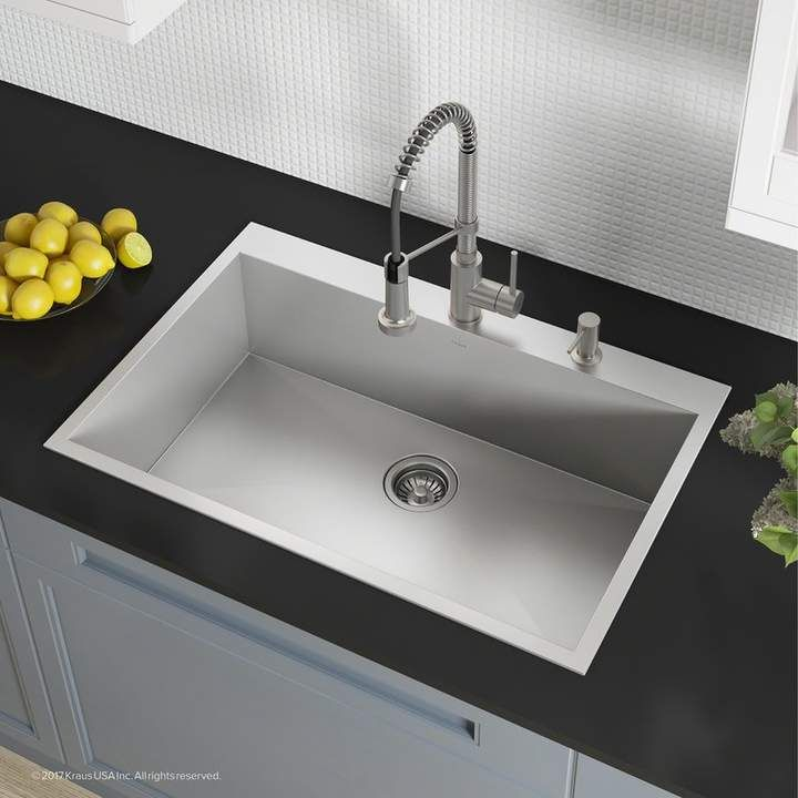 Kraus Pax Zero Radius Topmount Series 33 X 22 Drop In Kitchen Sink