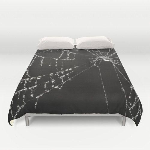 Gothic Black Duvet Cover, Goth Spider Web DuvetCover, Dark Dew Drop Teen Bedroom…