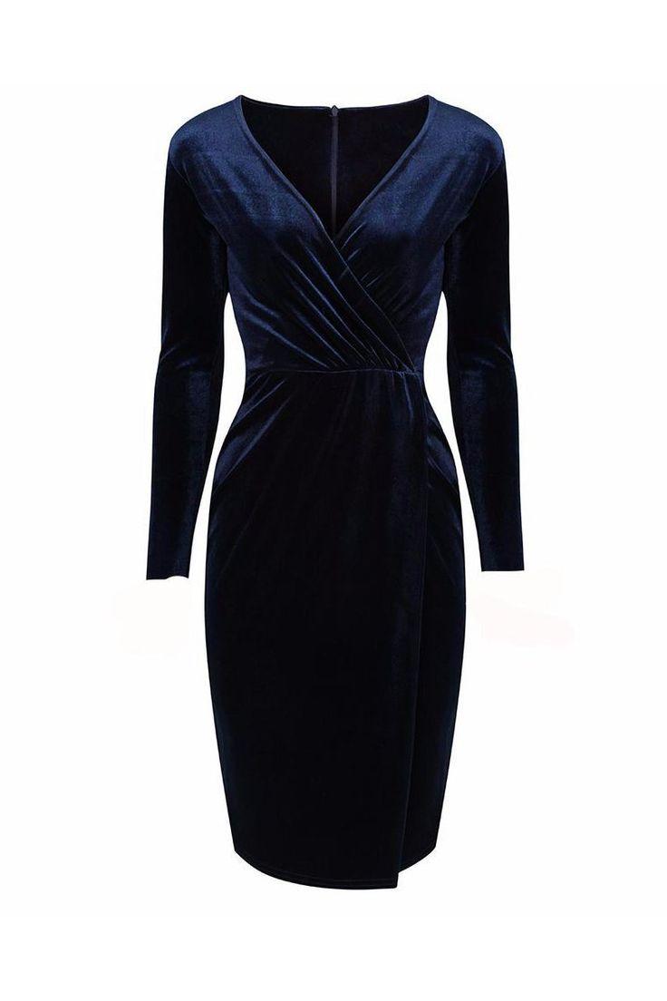 Navy Blue Velour Wrap Split Skirt Long Sleeve Wiggle Dress