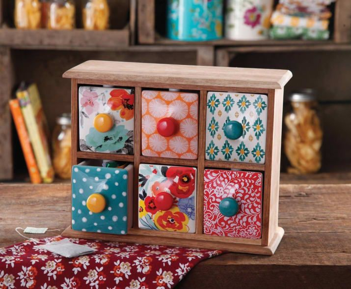 The drawers are made of ceramic and the frame is made of wood!Price: $28.94
