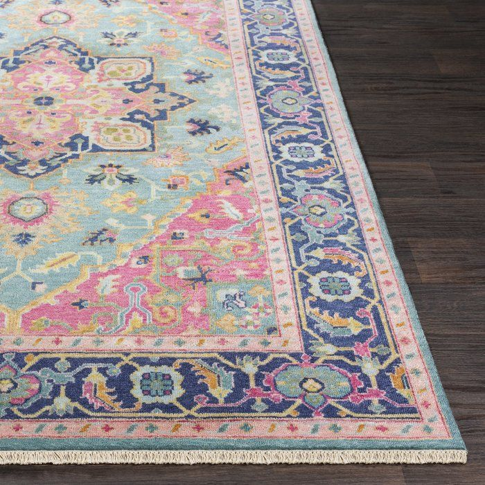 Heerlen Hand Knotted Wool Teal Bright Pink Area Rug Pink Girl