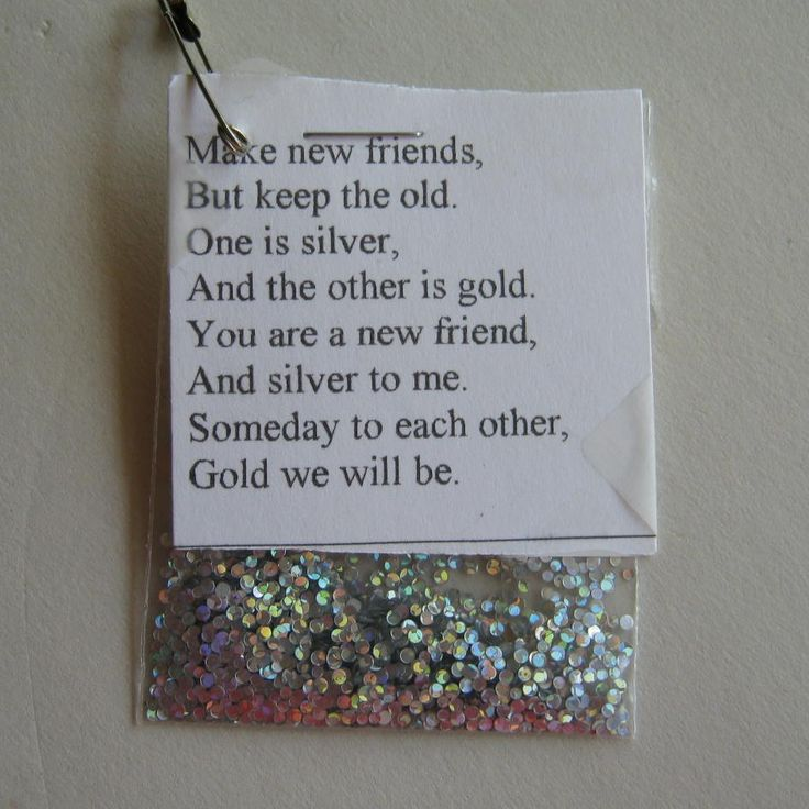 """Make new friends, but keep the old, one is silver, and the other is gold."" Simple and meaningful SWAP idea."