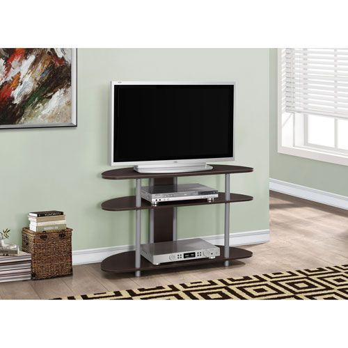 TV Stand - Cappuccino with Silver Accent