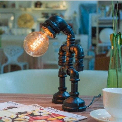 New Style 2014 Novelty Creative Gadget Vintage Industry Edison Water Pipe Touch Control Table Lamps Desk