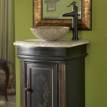 Pic On Kaco Arlington Square Single Bathroom Vanity in Ebony with Optional Sinks at Hayneedle