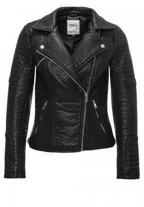 Fly Biker Jacket   27 Boutique This beautiful imitation leather jacket from ONLY is thick with being bulky, and includes three slanted front pockets and two decorative straps at the back.