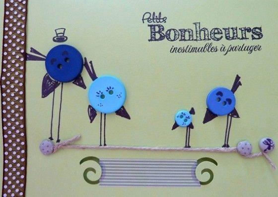 Carte oiseaux en boutons de couture