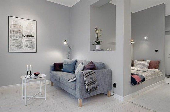 deco studio etudiant, plan studio 20m2, interieur gris sol en parquet gris clair