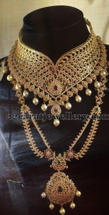 Jewellery Designs: Uncut Diamond Bridal Sets