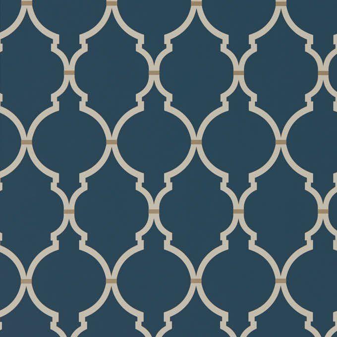 Обои синие с геометрией 216338 Sanderson
