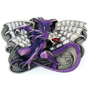 Boris Vallejo Dragon Enameled Belt Buckle
