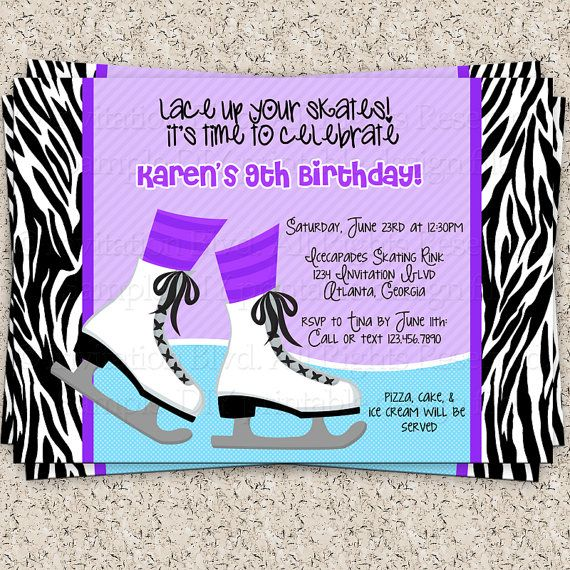Ice Skating Zebra Invitation