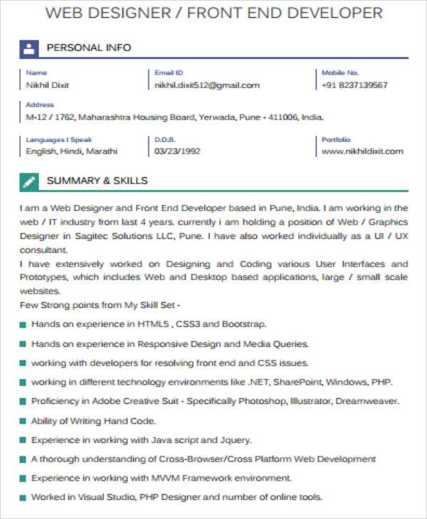 Front End Developer Resume Check More At Https Nationalgriefawarenessday Com 5298 Front End Developer Resume