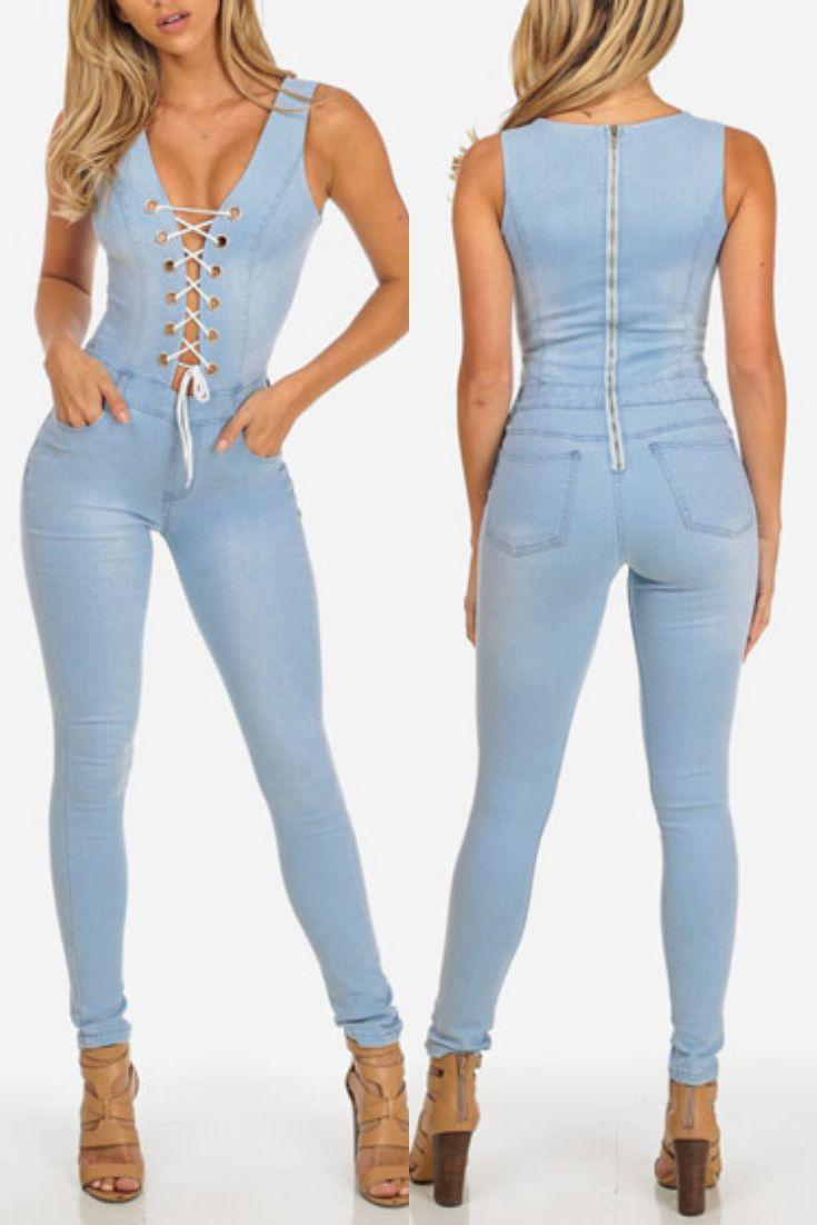 504ef9d02 Macacão Jeans Azul Claro Trançado Na Frente
