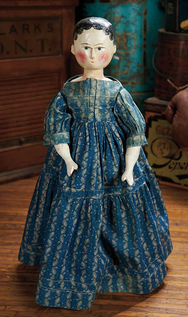 Mid-1800s Grodnertal Wooden Doll with Antique Blue Cotton Dress