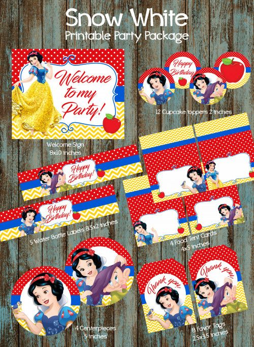 Snow White Birthday party package,  Snow White Party Supplies   PapelPintadoDesigns -  on ArtFire