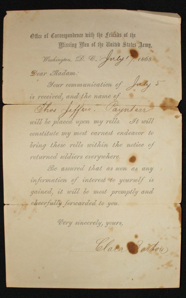 A form letter from the Clara Barton Missing Soldiers Office,  responding to the search request for Thomas Jefferson Payntar.  The letter contains blanks for inserting the date of the request and the missing soldier's name; Barton signed the letters.