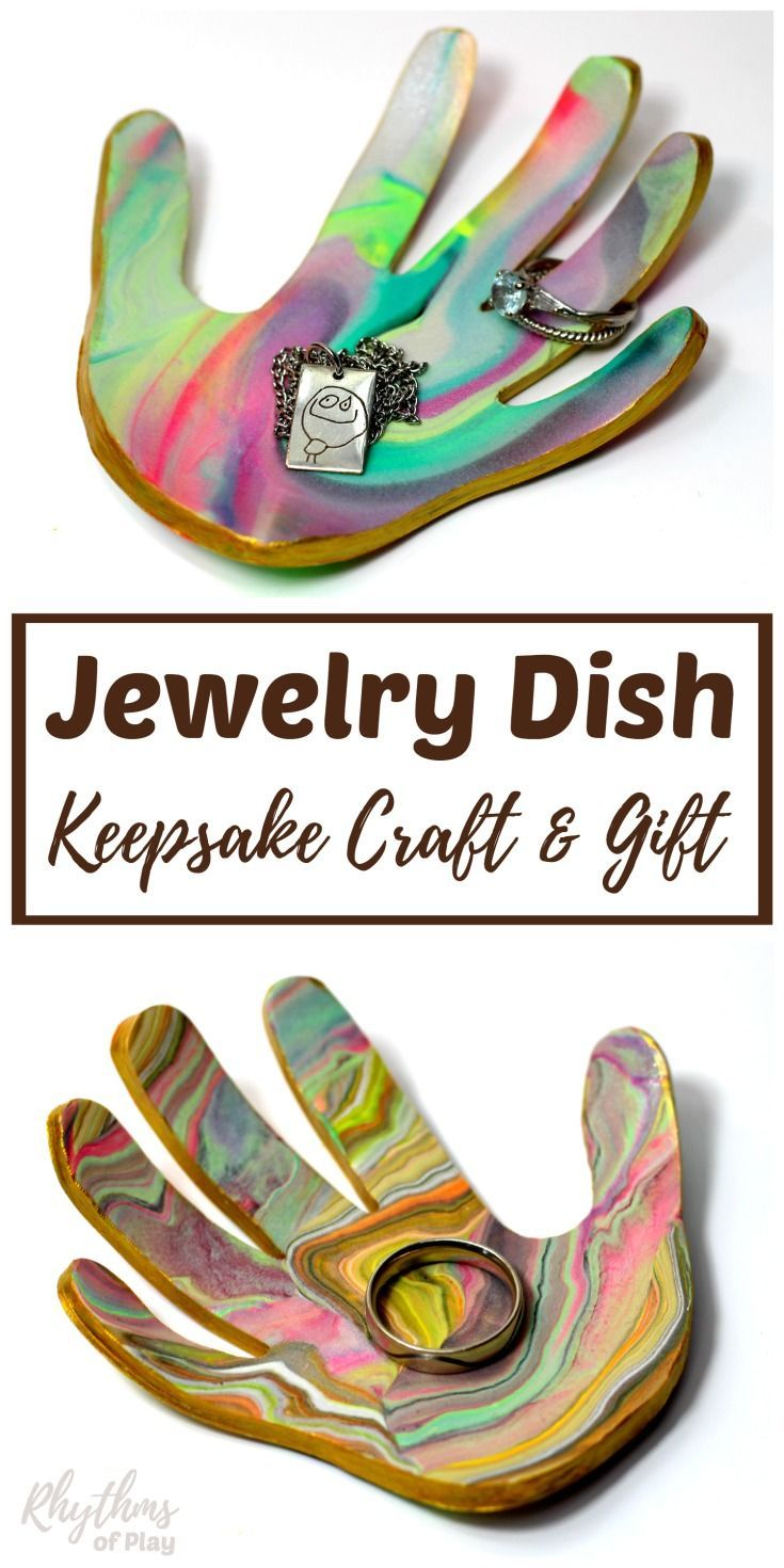 Family members love receiving handmade gifts that kids can make. This DIY marbled clay jewelry dish keepsake craft makes a unique homemade gift idea for Christmas, Mother's Day, and Father's Day. A ring bowl and jewelry dish for both men and women. Learn how to make your own using the easy to follow tutorial!