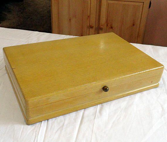 Retro Mid Century 1847 Rogers Blonde Wood Silverware Flatware Storage Box  Chest Case