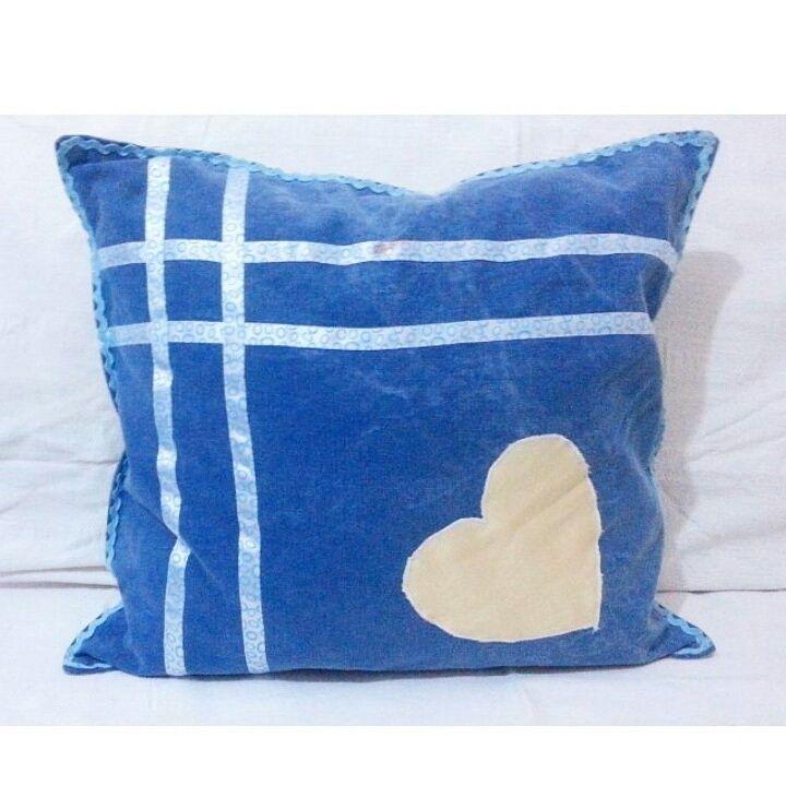 #mavi #sarı #kurdele #kalp #yastik #yastık #kot #kotkumas #jeanspillow #pillow #blue #yellow #jeans #pillow #kotyastik