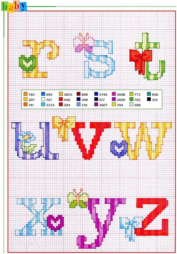 5581 best abecedario punto de cruz images on pinterest for Alfabeto punto croce grande