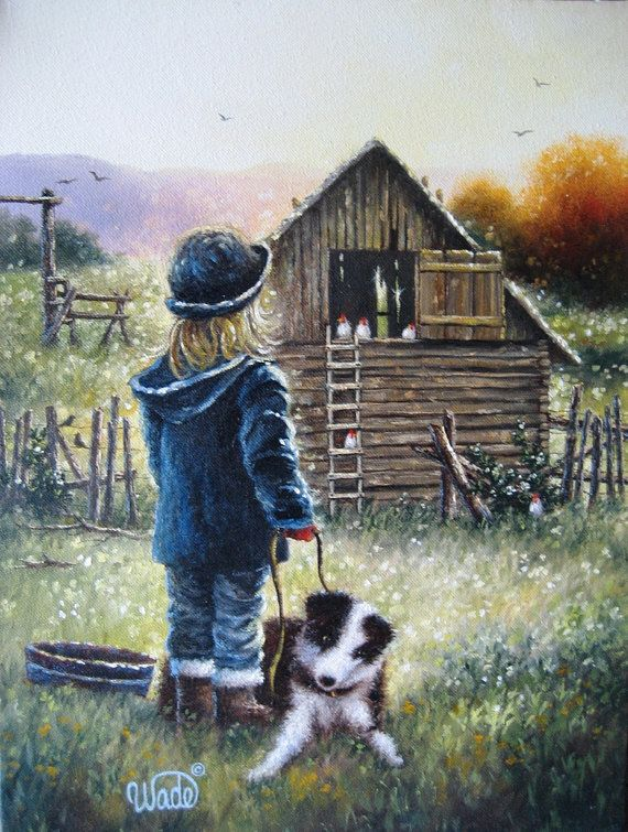 Farm Girl Print From Oil Painting Country Girl Little