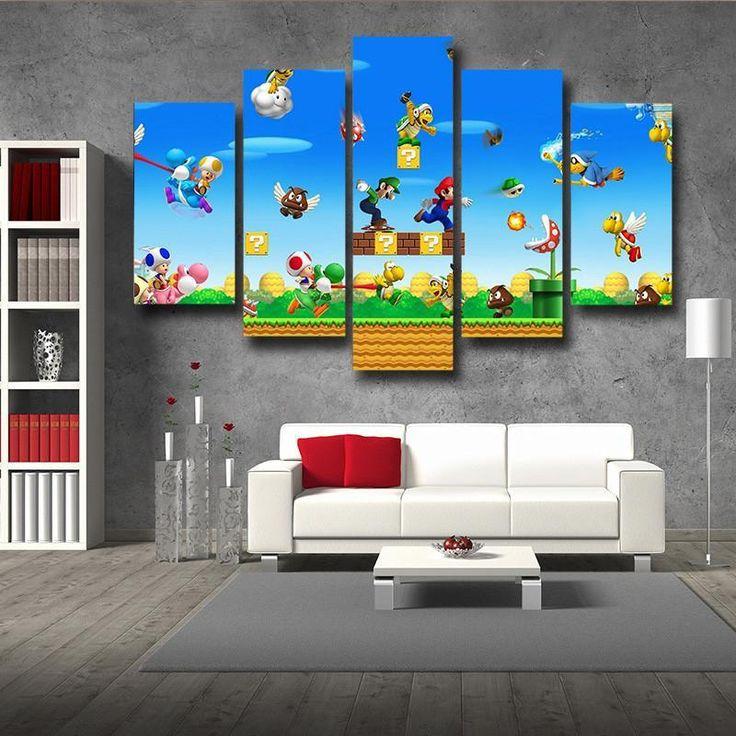 Super Mario Bros Luigi 5pc Wall Art Decor Posters Canvas Prints