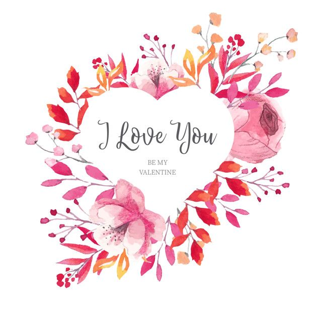Download Floral Valentine S Heart Frame With Watercolor Leaves For