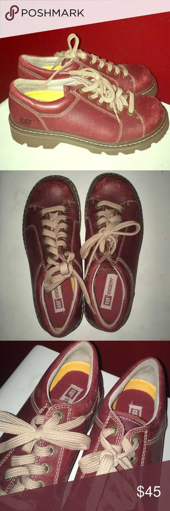 Maroon Caterpillar Doc Marten / style Boots Size 10 chunky 90's/grunge feel  Great condition Maroon / burgundy boots Size 10 Caterpillar Brand Look like Doc Marten 's  Worn a handful of times Very little wear A few scuffs Caterpillar Shoes Ankle Boots & Booties