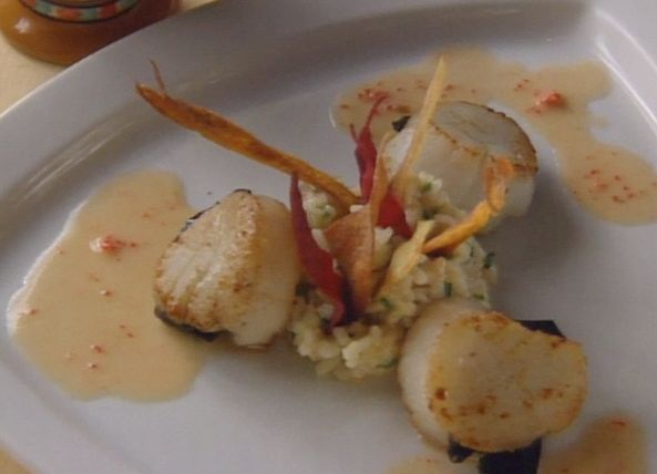 Caramelized Sea Scallops, Truffles, and Lobster Coral - Butter Sauce by Kim Canteenwalla