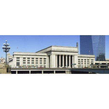 Facade of a building at a railroad station 30th Street Station Schuylkill River Philadelphia Pennsylvania USA Canvas Art - Panoramic Images (36 x 13)