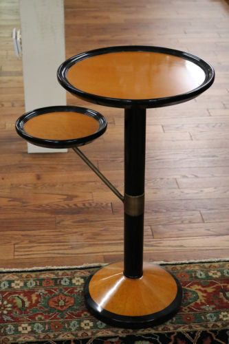 Gorgeous-Ebonized-amp-Maple-French-Art-Deco-Style-Cigar-Stand-Table-W-Brass-MINT