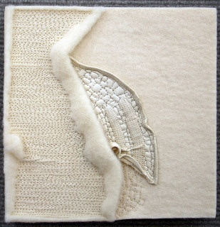 Rebecca Howdeshell. Fragments - wool felt, thread and portion of leather glove. www.rebeccahowdeshell.blogspot.co.uk