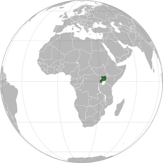 Location of Uganda in Africa and in the African Union