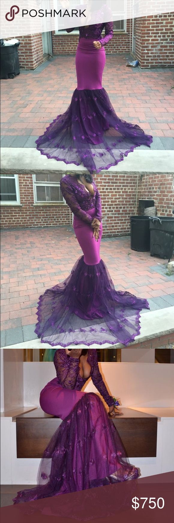 Purple prom dress I'm selling my old high school prom dress. It's custom made (yes I won prom queen😂). Any questions please ask. At the time. I was 141-150 pounds. Waist and length size was 28/32. The waist is very stretchy.  Chest 36C. If you need any more pictures ask. I'm willing to hear offers. Dresses Prom