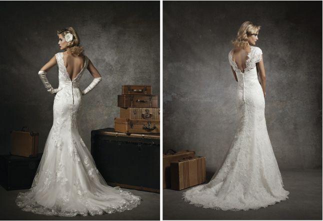 Low v-back ...  Lace Back Wedding Dresses - Part 3 - Belle the Magazine . The Wedding Blog For The Sophisticated Bride