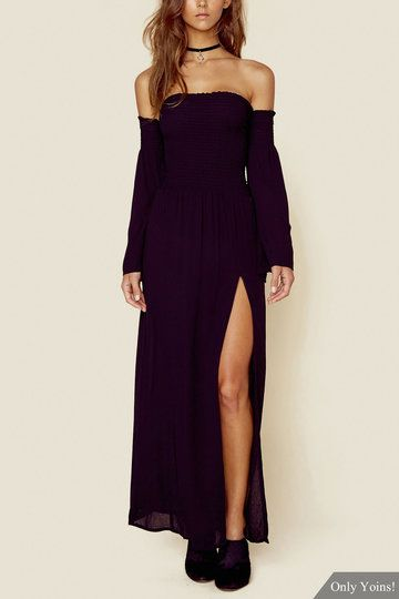 You'll be a major trend-setter in this maxi dress. You can show off your sexy shoulder with this piece. Featuring off shoulder, flared sleeves and high front splited hem. Complete your look with high heels.