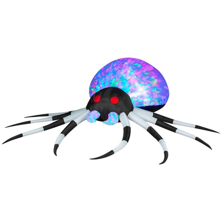 gemmy halloween inflatable 8 black white kaleidoscope spider - Lighted Halloween Decorations