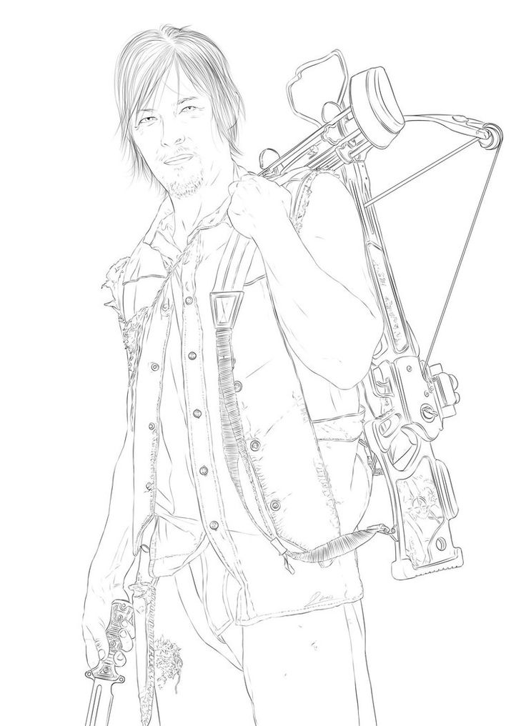 The Walking Dead Daryl Coloring Pages Pintar piso