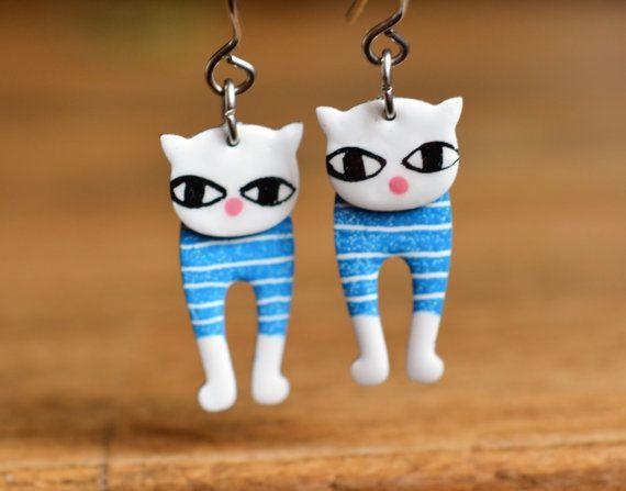 Cat Earrings Whimsical Jewelry White Enameled by CinkyLinky