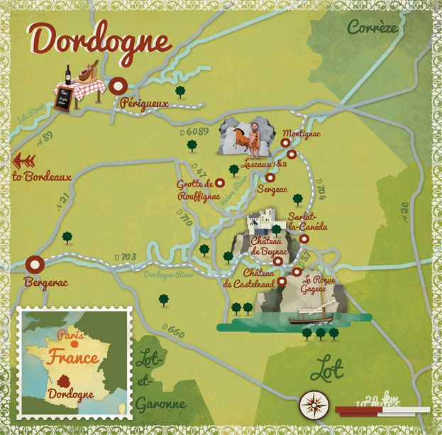 Alexandre Verhille - map of the Dordogne