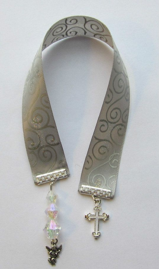 Silver Sparkle Cross Ribbon Bookmark Made For by WhispySnowAngel, $5.00
