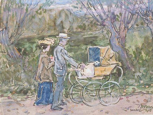 Jan Toorop, Paul en Mies Elout-Drabbe achter de kinderwagen - 1903