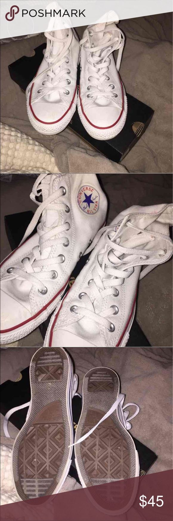 White converse shoes HIGHTOP CONVERSE WHITE RED AND BLUE SIZE 7.5 THE SHOES ARE AS IS AND THE PRICE IS FIRM...NO TRADES BOTTOMS ARE CLEAN Converse Shoes Sneakers