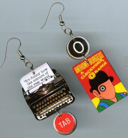 A Clockwork Orange Typewriter Book Earrings #1970s #anthony-burgess #author