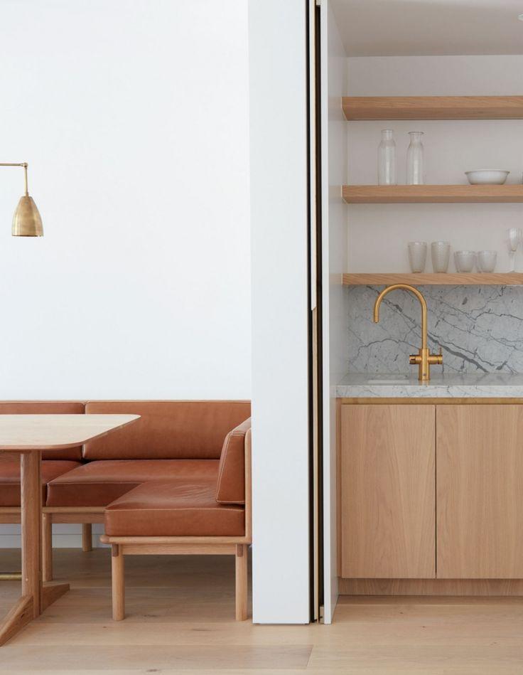 wood open shelving + marble backsplash + gold fixtures